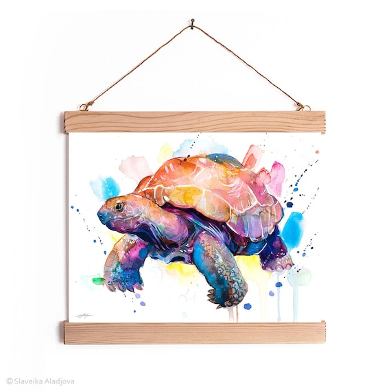 Giant tortoise, Galapagos Giant Tortoise Watercolor Painting Framed, Wall Hanging print, Animal, Home Decor, Illustration, Ready to Hang