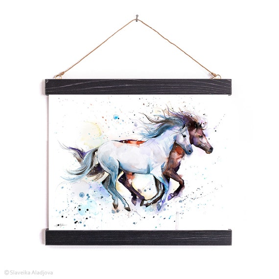Horses Watercolor Painting Framed, Wall Hanging print, Home Decor, Wall Art, Illustration, Ready to Hang, Framed, Nursery