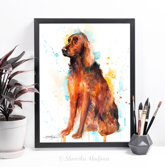 Irish Setter watercolor framed canvas by Slaveika Aladjova, Limited edition, art, animal watercolor, animal illustration,