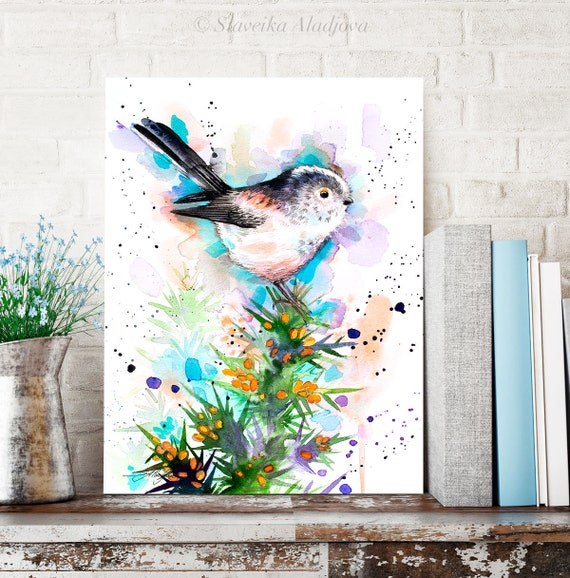 Long-tailed tit watercolor painting print by Slaveika Aladjova,art, animal, illustration, bird, home decor, wall art, gift, portrait, Flower