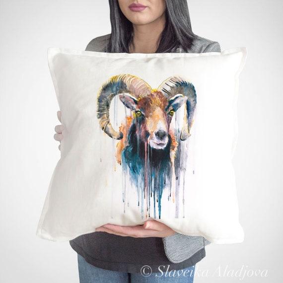 Mouflon throw pillow cover by Slaveika Aladjova, cushion cover, Decorative Pillow Cover, Animal Art, Watercolor pillow, Christmas gift