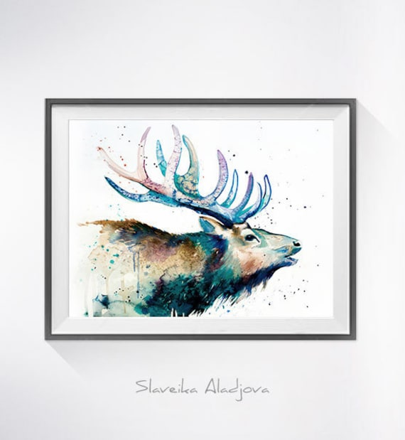 Original Watercolour Painting- Red deer art, animal, illustration, animal watercolor, animals paintings, animals, portrait,