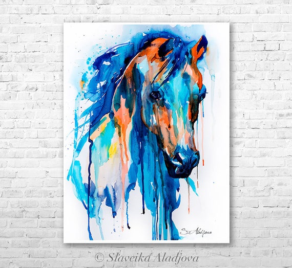 Horse watercolor painting print by Slaveika Aladjova, art, animal, illustration, home decor, wall art, gift, portrait, Contemporary