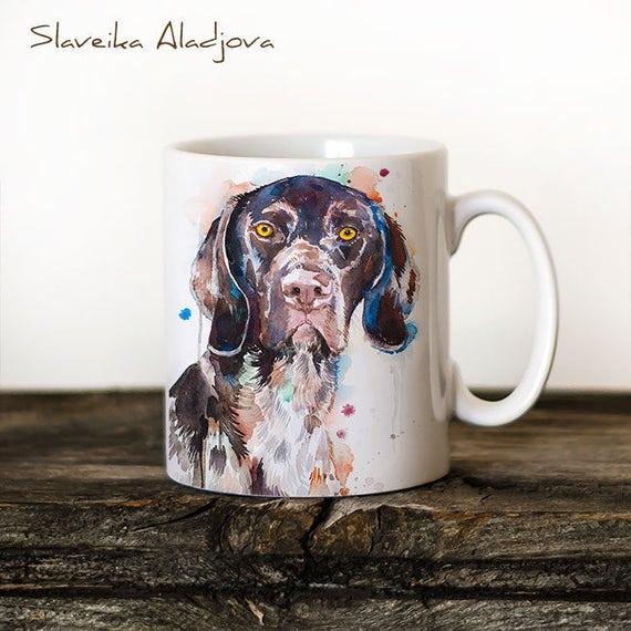 German Shorthaired Pointer Mug Watercolor Ceramic Mug Unique Gift Coffee Mug Animal Mug Tea Cup Art Illustration Cool Kitchen Art