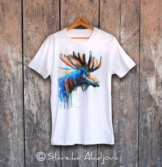Moose T-shirt, Unisex T-shirt, ring spun Cotton 100%, watercolor T-shirt, T shirt art, T shirt animal, XS, S, M, L, XL, XXL