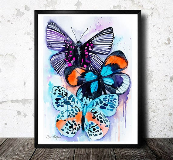 Original Watercolour Painting-Butterflies 2 , animal, illustration, animal watercolor, animals paintings, animals, portrait,