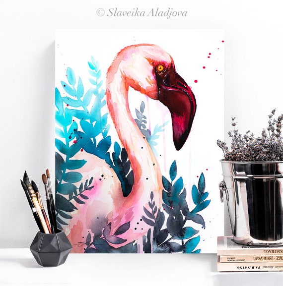 Lesser flamingo watercolor painting print by Slaveika Aladjova, art, animal, illustration, bird, home decor, wall art, gift, portrait,