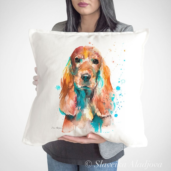 English Cocker Spaniel throw pillow cover by Slaveika Aladjova,cushion cover, Decorative Pillow Cover, Animal Art, Watercolor pillow,