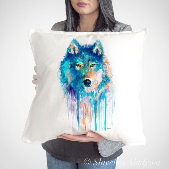 Wolf Cushion Cover,  throw pillow, Decorative Cushion Cover, Animal Art, Watercolor pillow, Cute wolf print