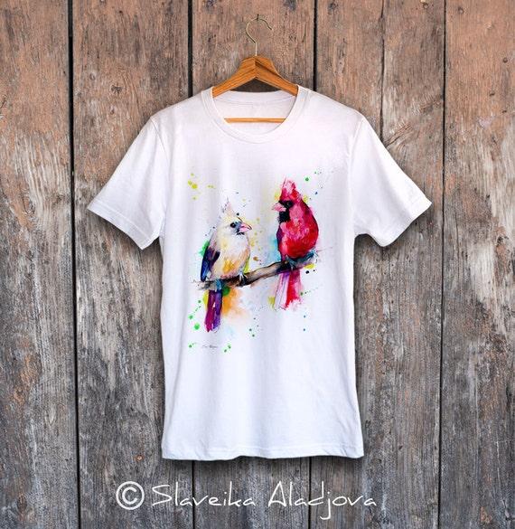 Cardinals T-shirt, Unisex T-shirt, ring spun Cotton 100%, watercolor print T-shirt, T shirt art, T shirt animal,XS, S, M, L, XL, XXL