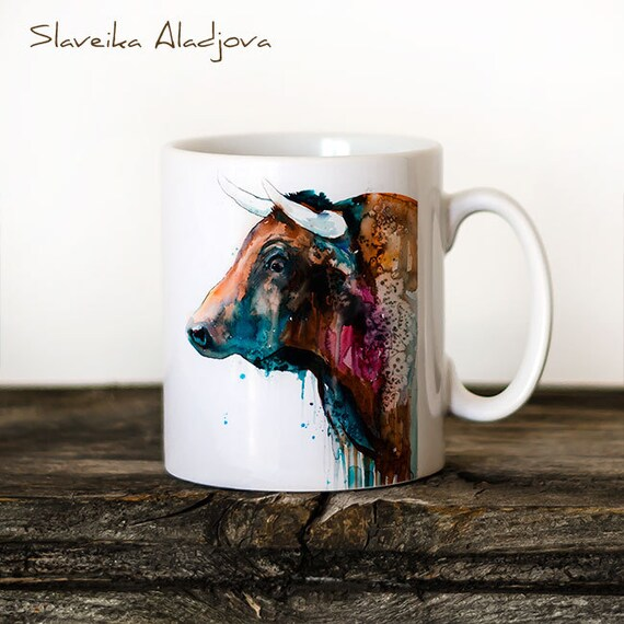 Bull Mug Watercolor Ceramic Mug Unique Gift Coffee Mug Animal Mug Tea Cup Art Illustration Cool Kitchen Art Printed mug