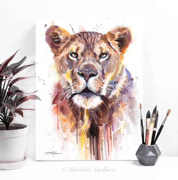 African Lioness watercolor painting print by Slaveika Aladjova, art, animal, illustration, home decor, Nursery, Wildlife, wall art, cat
