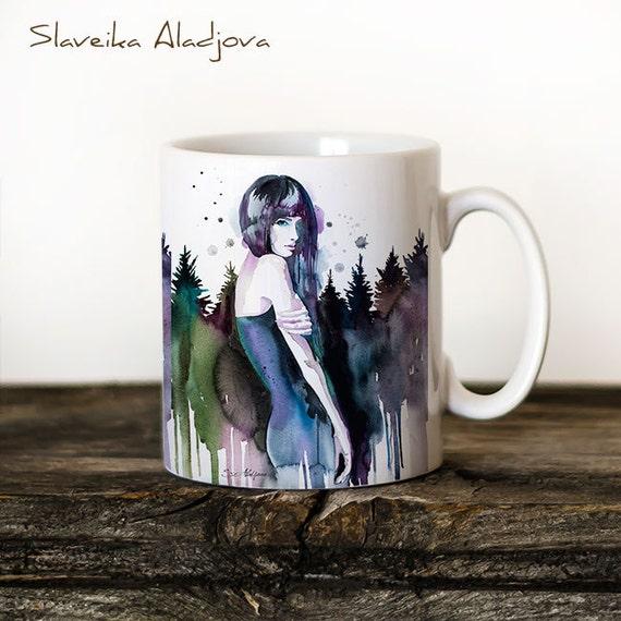 Forest girl Mug Watercolor Ceramic Mug Unique Gift Coffee Mug Animal Mug Tea Cup Art Illustration Cool Kitchen Art Printed mug bird