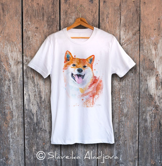 Shiba Inu T-shirt, Unisex T-shirt, ring spun Cotton 100%, watercolor print T-shirt, T shirt art, T shirt animal,XS, S, M, L, XL, XXL
