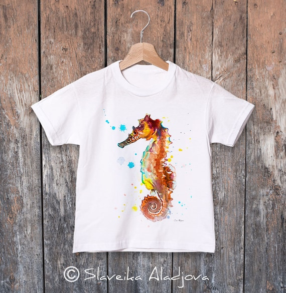Kids art T-shirt, Seahorse watercolor , Boys' Clothing, Girls' Clothing, ring spun Cotton 100%, watercolor print T-shirt, T shirt art