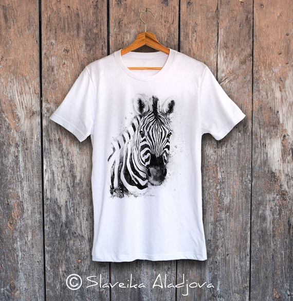 Black White Zebra T-shirt, Unisex T-shirt, ring spun Cotton 100%, watercolor print T-shirt, T shirt art, T shirt animal,XS, S, M, L, XL, XXL