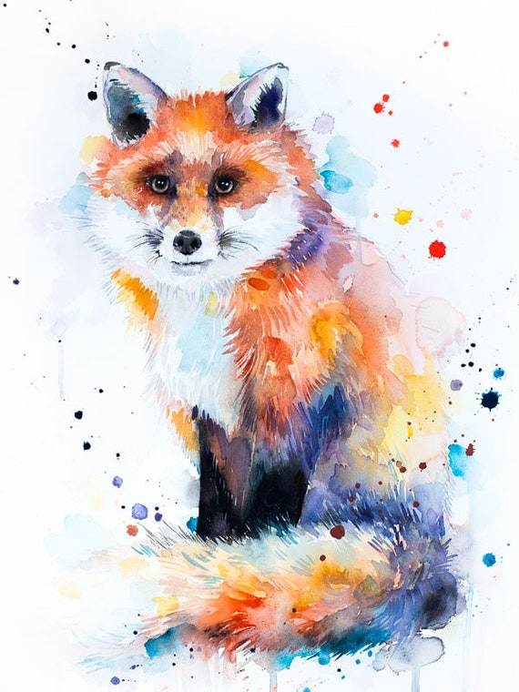 Original Watercolour Painting- Fox art, animal, illustration, animal watercolor, animals paintings, animals, portrait,