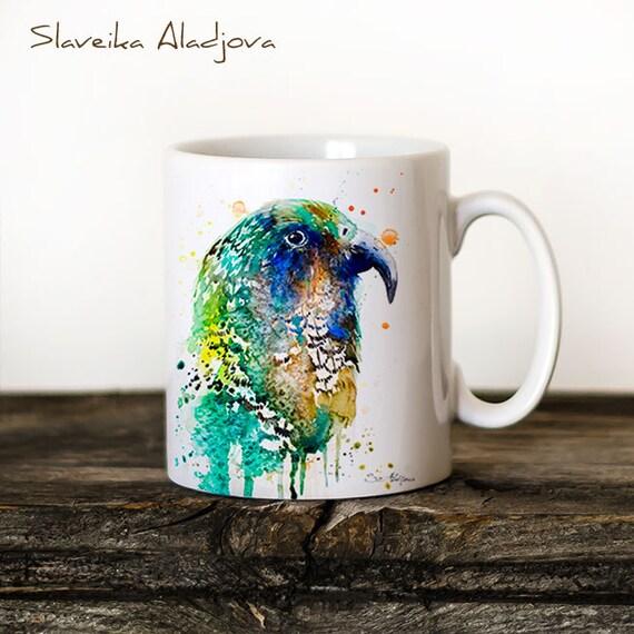 Kea Parrot Mug Watercolor Ceramic Mug Unique Gift Coffee Mug Animal Mug Tea Cup Art Illustration Cool Kitchen Art Printed mug bird