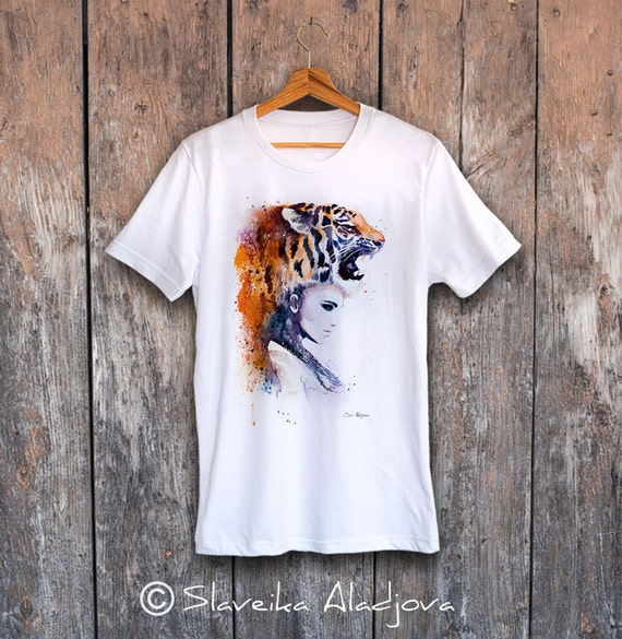 Tiger Girl T-shirt, Unisex T-shirt, ring spun Cotton 100%, watercolor print T-shirt, T shirt art, T shirt animal,XS, S, M, L, XL, XXL