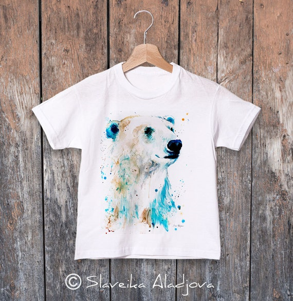 Polar bear watercolor kids T-shirt, Boys' Clothing, Girls' Clothing, ring spun Cotton 100%, watercolor print T-shirt, T shirt art