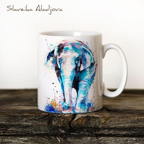 Asian Elephant Mug Watercolor Ceramic Mug Elephant Unique Gift Coffee Mug Animal Mug Tea Cup Art Illustration Cool Kitchen Art Printed mug