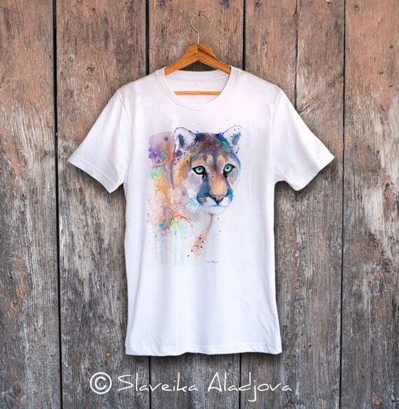 Puma T-shirt, Unisex T-shirt, ring spun Cotton 100%, watercolor T-shirt, T shirt art, T shirt animal, XS, S, M, L, XL, XXL