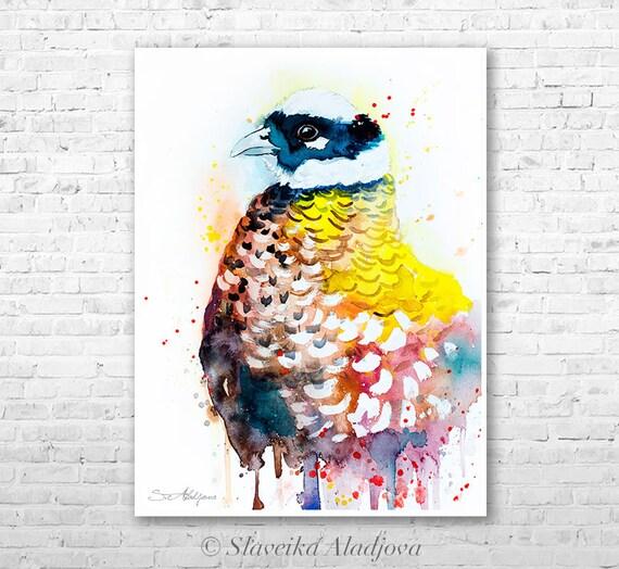 Reeves's Pheasant watercolor painting print by Slaveika Aladjova, animal, illustration, bird, home decor, wall art, Wildlife, Contemporary