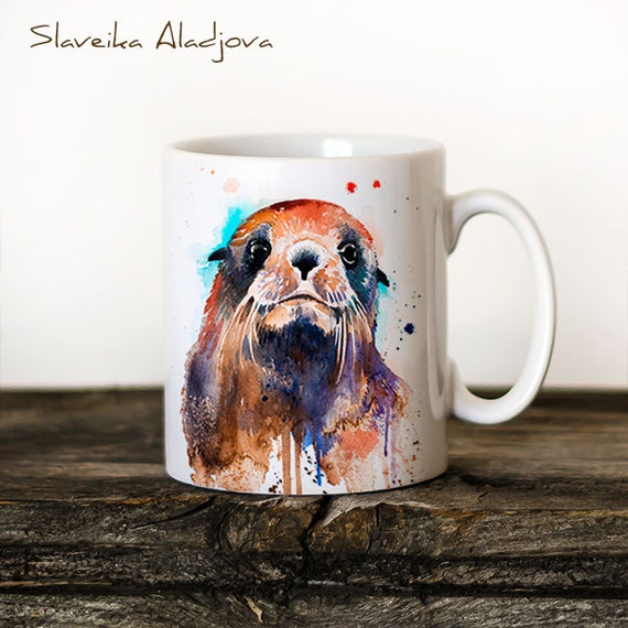 Fur seal  Mug Watercolor Ceramic Mug Unique Gift Coffee Mug Animal Mug Tea Cup Art Illustration Cool Kitchen Art Printed