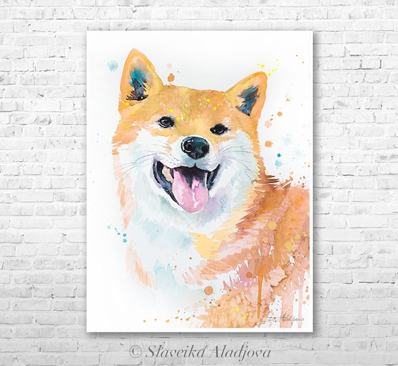 Shiba Inu 3 watercolor painting print by Slaveika Aladjova, art, animal, illustration, home decor, Nursery, gift, Contemporary, dog art