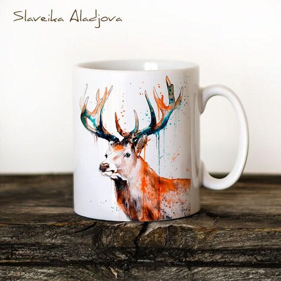 Deer Stag Mug Watercolor Ceramic Mug Unique Gift Coffee Mug Animal Mug Tea Cup Art Illustration Cool Kitchen Art Printed mug