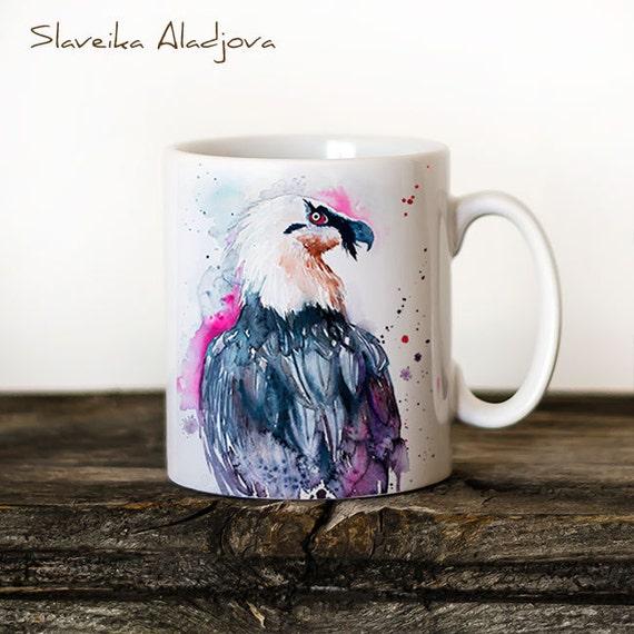 Bearded vulture Mug Watercolor Ceramic Mug Unique Gift Coffee Mug Animal Mug Tea Cup Art Illustration Cool Kitchen Art Printed mug bird
