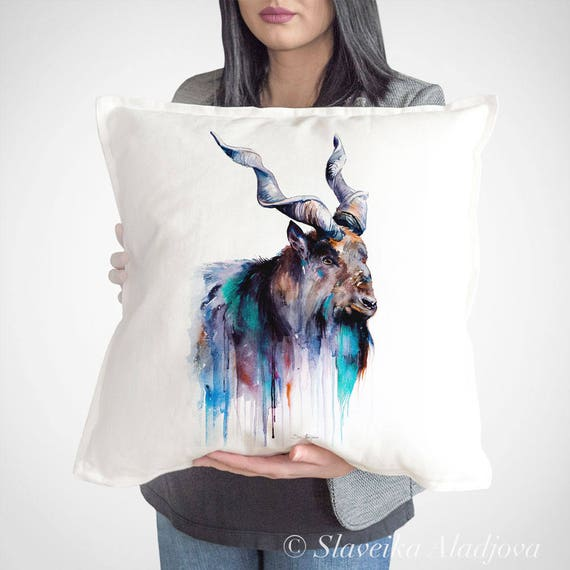 Goat 3 throw pillow cover by Slaveika Aladjova, cushion cover, Decorative Pillow Cover, Animal Art, Watercolor pillow,Christmas gift