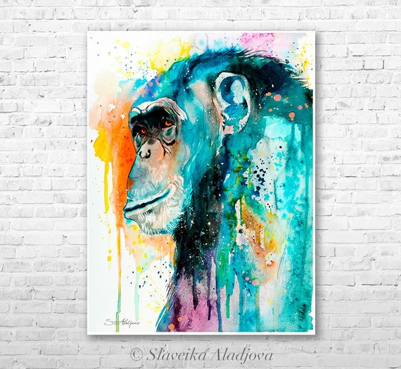 Chimp Chimpanzee 2 watercolor painting print by Slaveika Aladjova, art, animal, illustration, home decor, Nursery, Wildlife, monkey