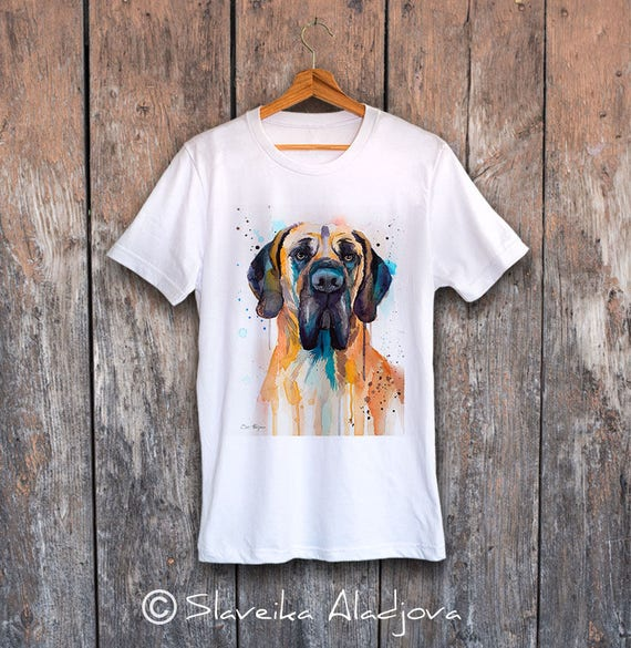 Fawn Great Dane T-shirt, Unisex T-shirt, ring spun Cotton 100%, watercolor print T shirt art,T shirt animal,XS, S, M, L, XL, XXL