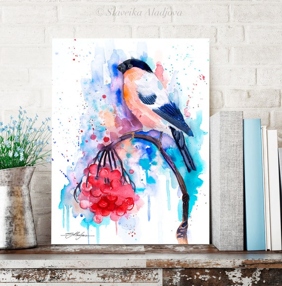 Bullfinch watercolor painting print by Slaveika Aladjova, art, animal, illustration, bird, home decor, wall art, gift, portrait, Flower