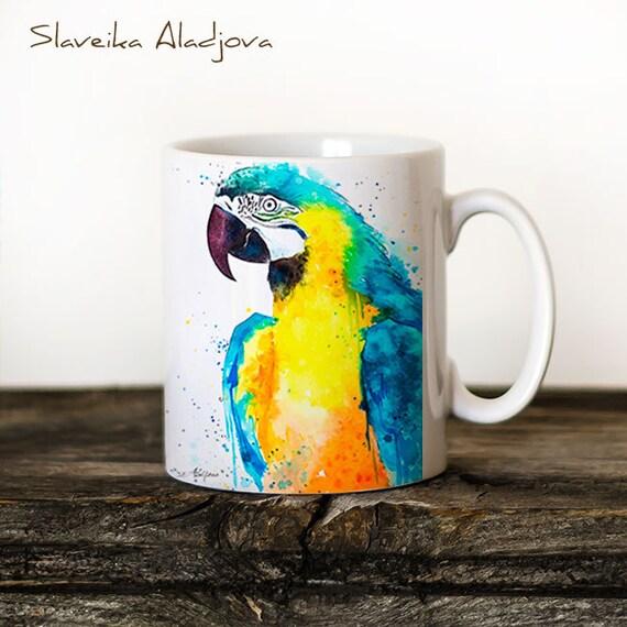 Macaw Parrot 2 Mug Watercolor Ceramic Mug Unique Gift Coffee Mug Animal Mug Tea Cup Art Illustration Cool Kitchen Art Printed mug bird