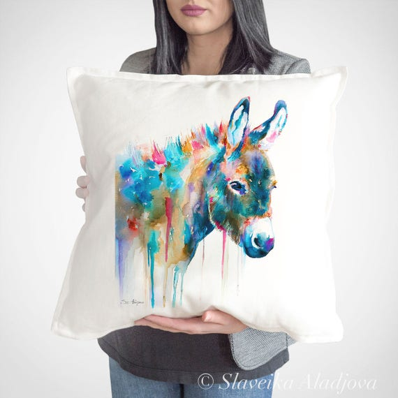 Donkey throw pillow cover by Slaveika Aladjova, cushion cover, Decorative Pillow Cover, Animal Art, Watercolor pillow, Christmas gift