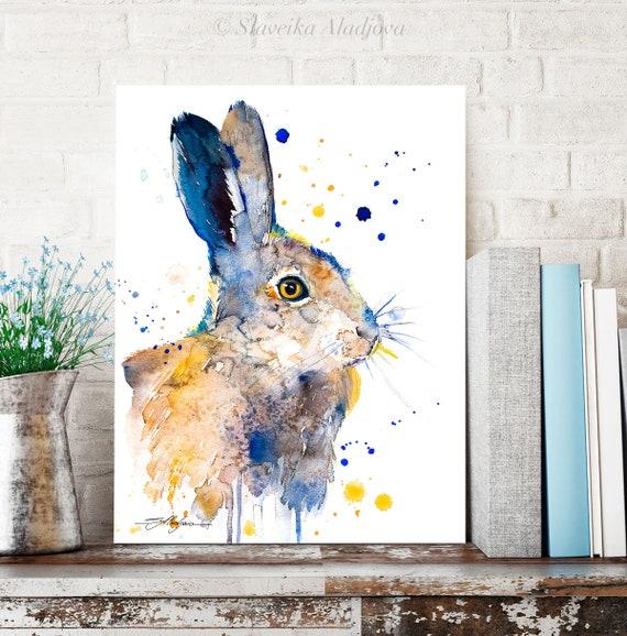 Hare rabbit watercolor painting print by Slaveika Aladjova, art, animal, illustration, home decor, Nursery, gift, Wildlife, wall art