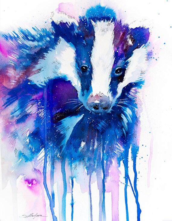 Original Watercolour Painting- Badger animal, illustration, animal watercolor,