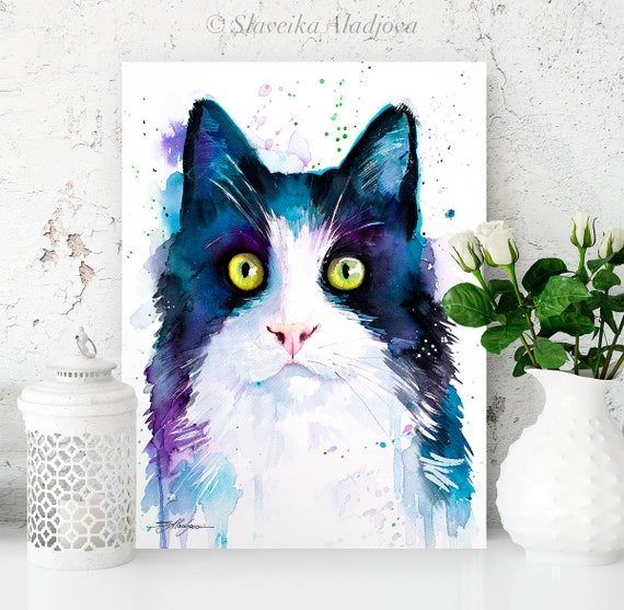Black and white cat watercolor painting print by Slaveika Aladjova, art, animal, illustration, home decor, Nursery, gift, wall art