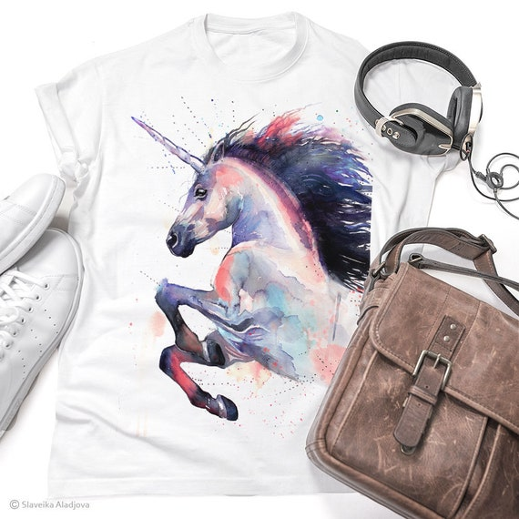 Pink Unicorn T-shirt, Ladies' T-shirt with Unicorn print, women's tees, Unicorn Lover Gift idea, Graphic tee, ring spun Cotton 100%