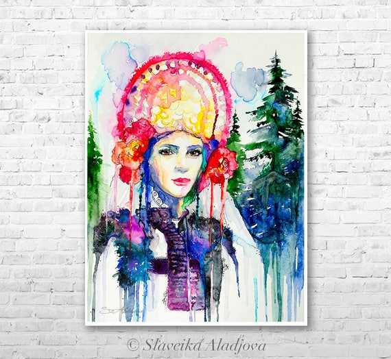 Fashion Illustration 7 watercolor painting print by Slaveika Aladjova, Woman art, Girl Illustration, Bulgarian national costume, wall art