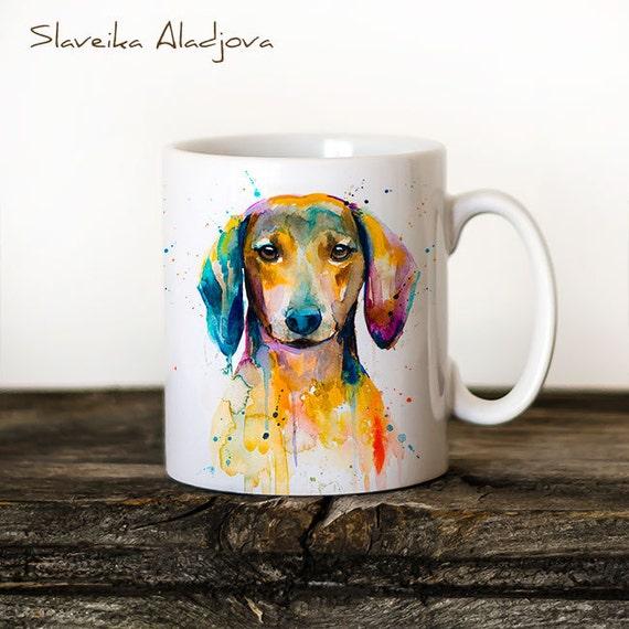 Dachshund Mug Watercolor Ceramic Mug Unique Gift Coffee Mug Animal Mug Tea Cup Art Illustration Cool Kitchen Art Printed mug dog