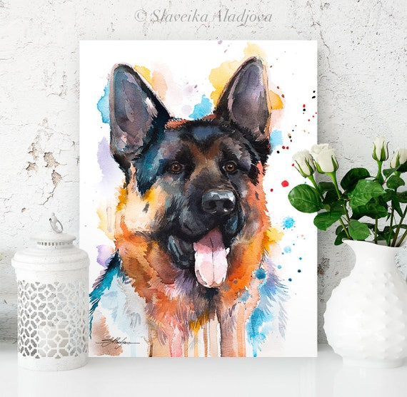 German Shepherd watercolor painting print by Slaveika Aladjova, animal, illustration, home decor, Nursery, Contemporary, dog art, wall art