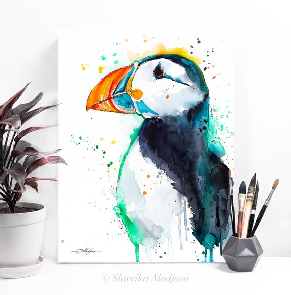 Atlantic puffin watercolor painting print by Slaveika Aladjova, art, animal, illustration, bird, home decor, wall art, gift, portrait,