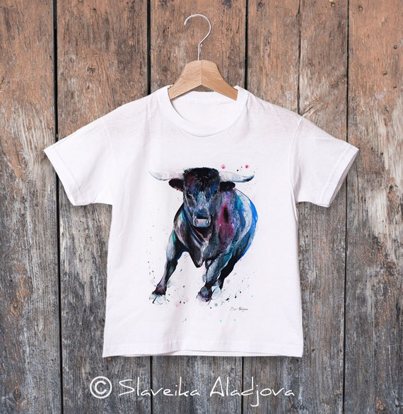 Bull watercolor kids T-shirt, Boys' Clothing, Girls' Clothing, ring spun Cotton 100%, watercolor print T-shirt, T shirt art