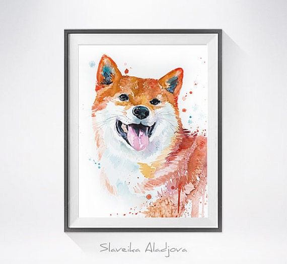 Original Watercolour Painting- Shiba Inu  art, animal, illustration, animal watercolor, animals paintings, animals, portrait,