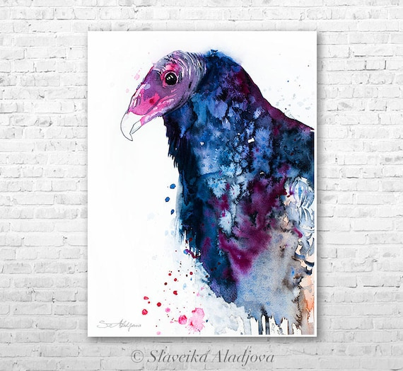 Turkey Vulture watercolor painting print by Slaveika Aladjova, art, animal, illustration, bird, home decor, wall art, gift, Wildlife