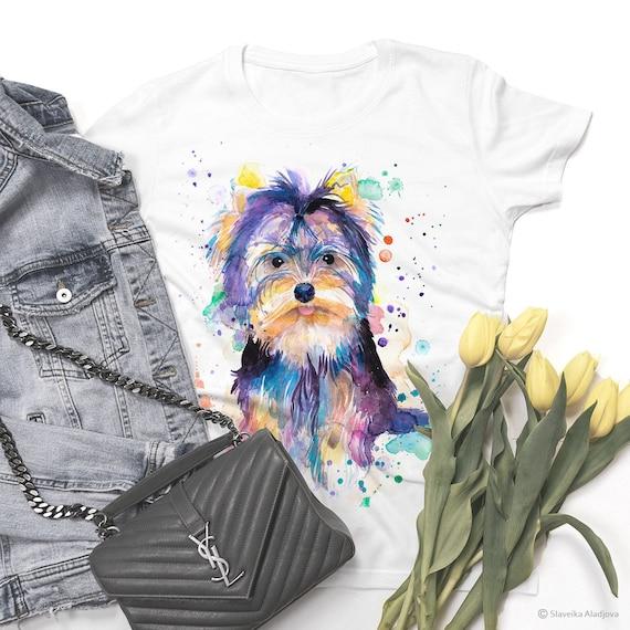 Yorkshire Terrier T-shirt, Unisex T-shirt, ring spun Cotton 100%, watercolor print T-shirt, T shirt art, T shirt animal,XS, S, M, L, XL, XXL