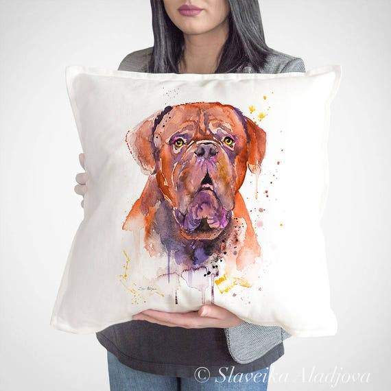 French Mastiff throw pillow cover by Slaveika Aladjova,cushion cover, Decorative Pillow Cover, Animal Art, Watercolor pillow, Christmas gift